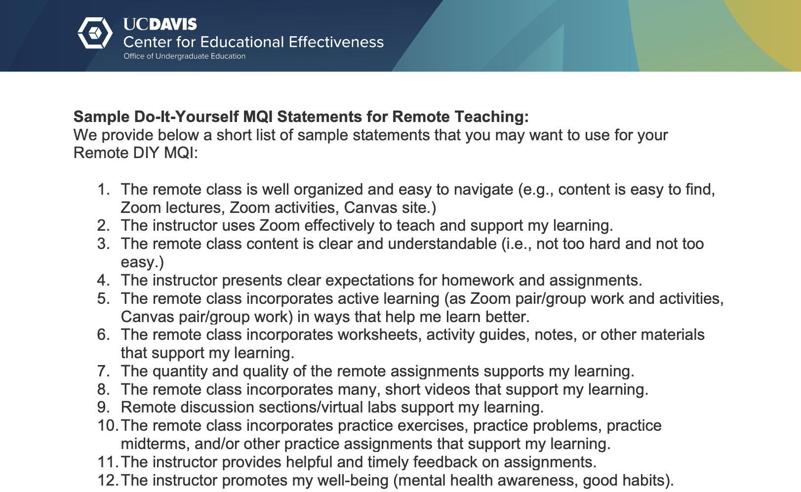 Sample Do-It-Yourself MQI Statements